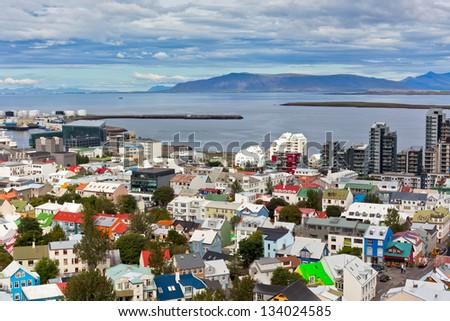 Capital of Iceland, Reykjavik, view from the Hallgrimskirkja Church - stock photo