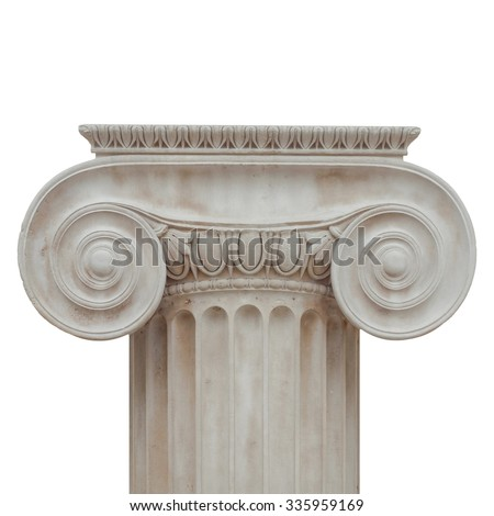 Capital of the ancient Greek Ionic order isolated over white background - stock photo