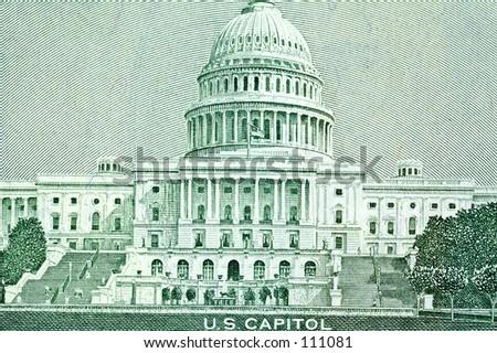 Capital on Fifty Dollar Bill - stock photo