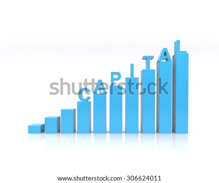 Capital text on growth chart. - stock photo
