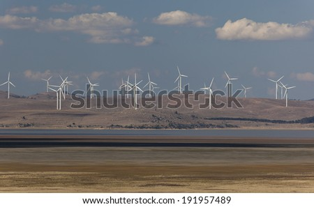 Capital wind farm. View from Federal highway lookout. Bungendore. NSW. Australia. - stock photo