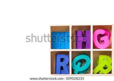 Capital wooden colourful block letter ABC alphabet set. - stock photo