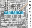 Capitalism info-text graphics and arrangement concept (word cloud) in white background - stock vector