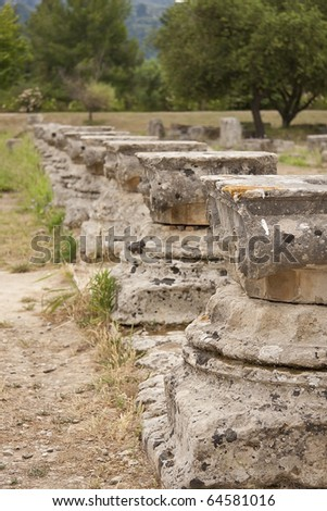Capitels, columns in the mount olympus, Peloponnese, Greece, Europe. - stock photo