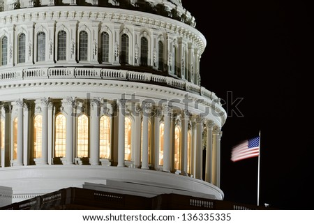 Capitol building dome detail at night - Washington DC - stock photo