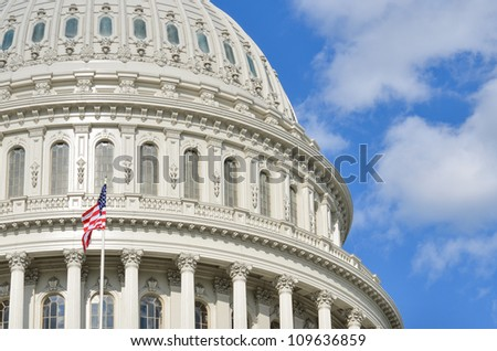 Capitol Building dome detail in Washington DC United States - stock photo