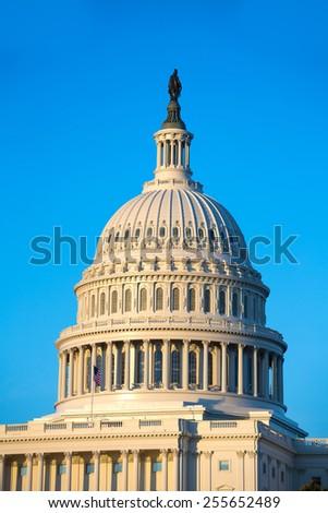 Capitol building dome Washington DC USA US congress - stock photo