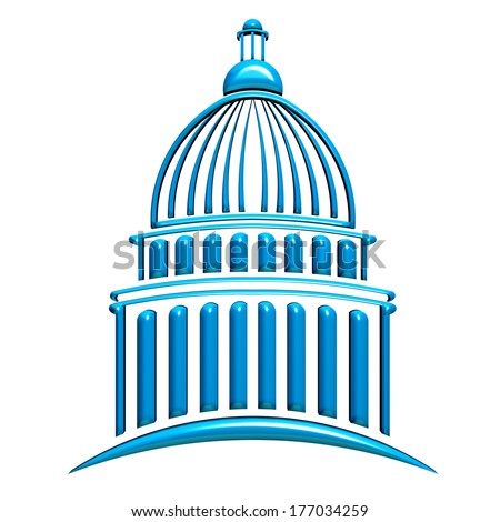 Capitol building icon blue - stock photo