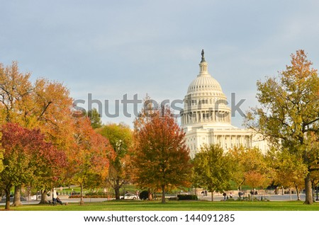 Capitol Building in Autumn - Washington DC United States  - stock photo
