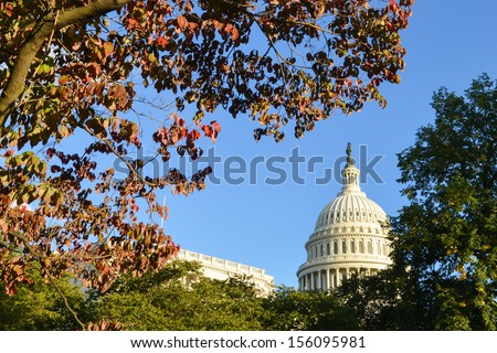 Capitol Building in Autumn - Washington DC United States