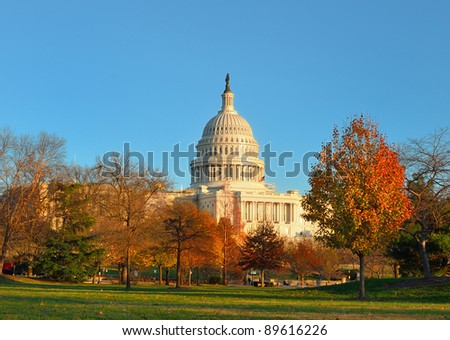 Capitol Building in Autumn with yellow trees , Washington DC United States - stock photo