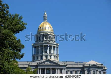 Capitol building in Denver, with gold leaf dome - stock photo