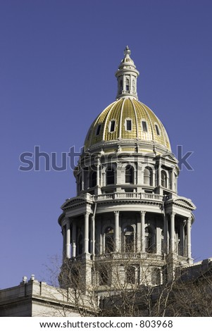 Capitol building in downtown Denver Colorado with gold crown. - stock photo
