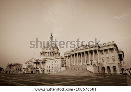 Capitol Building in sepia  - Washington DC - stock photo
