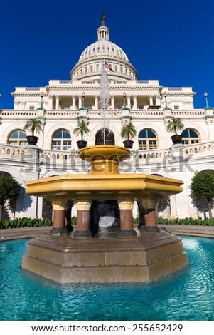 Capitol building Washington DC sunlight day USA US congress - stock photo