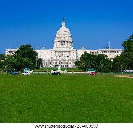 Capitol building Washington DC sunlight day USA US congress - stock photo