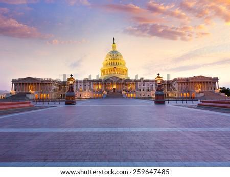 Capitol building Washington DC sunset at US congress USA - stock photo