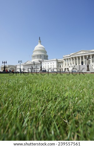 Capitol Building Washington DC USA scenic view with green grass summer lawn  - stock photo