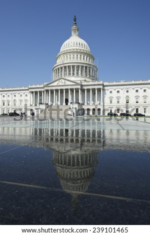 Capitol Building Washington DC USA scenic view with reflection on water - stock photo