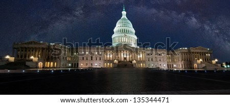 capitol building with milky way sky - stock photo