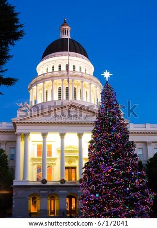 Capitol Christmas Tree in Sacramento California - stock photo