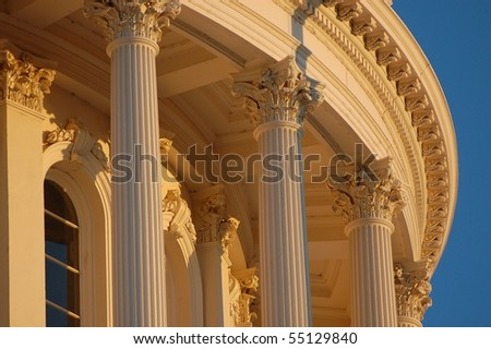 Capitol Columns at Dusk - stock photo