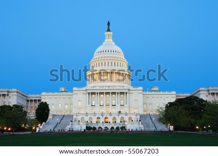 Capitol Hill Building at dusk with light and blue sky, Washington DC. - stock photo