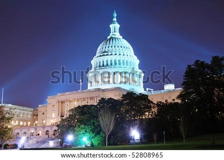 Capitol hill building at night illuminated with light, Washington DC. - stock photo