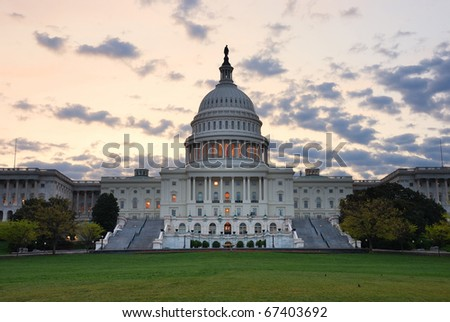 Capitol hill building closeup in the morning with colorful cloud , Washington DC. - stock photo