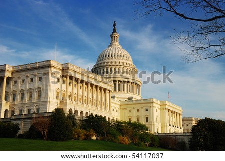 Capitol Hill Building in detail at sunset, Washington DC - stock photo