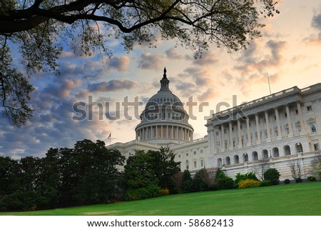 Capitol hill building in the morning with colorful cloud , Washington DC. - stock photo