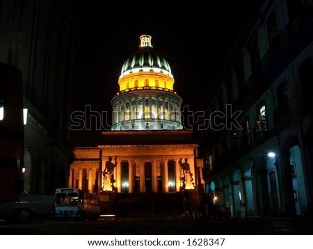 Capitol. Night Havana - stock photo
