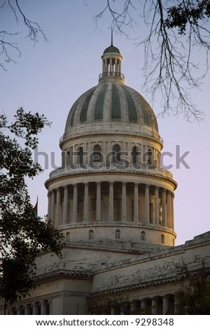Capitol of Havana against sunset background - stock photo
