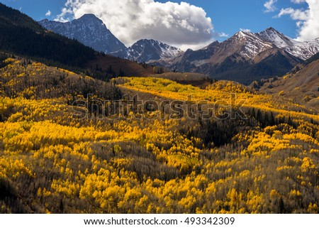 Capitol Peak, a treacherous mountain in the Colorado Rockies, covered in snow and draped in beautiful Fall/Autumn yellow Aspen trees.  Near Aspen Colorado, USA