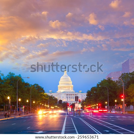 Capitol sunset Pennsylvania Avenue congress Washington DC USA