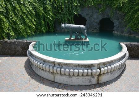 Capitoline Wolf  in Hamilton Gardens, Hamilton, New Zealand - stock photo