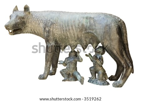 Capitoline wolf replica in Tarragona, Catalonia, Spain - stock photo