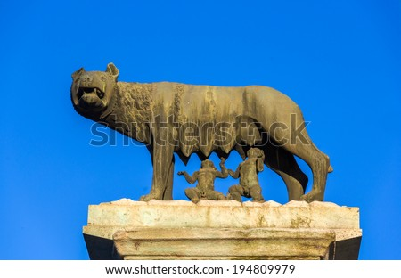 Capitoline Wolf statue in Rome, Italy - stock photo