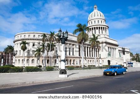 Capitolio building and vintage old american car. Havana, Cuba - stock photo