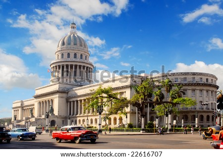 Capitolio building Havana, Cuba with vintage old american cars - stock photo