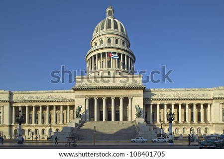 Capitolio, the Cuban capitol building and dome in Havana, Cuba