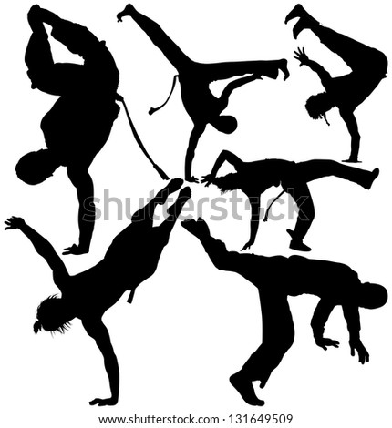 Capoeira fighter silhouettes on white background. Raster version