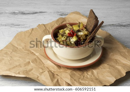 Caponata - baked vegetable ragout with white wine and herbs