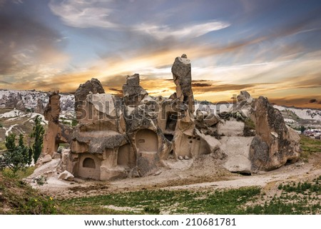 Cappadocia, Anatolia, Turkey. Volcanic mountains in Goreme national park. - stock photo