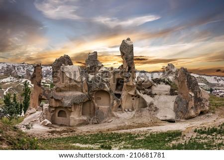 Cappadocia, Anatolia, Turkey. Volcanic mountains in Goreme national park. - stock photo