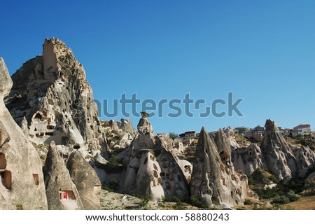 Cappadocia in Turkey during sunny, hot day - stock photo