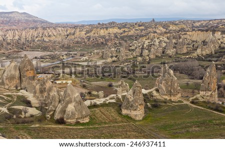 Cappadocia, Mountain landscape near the town Goreme, Turkey - stock photo