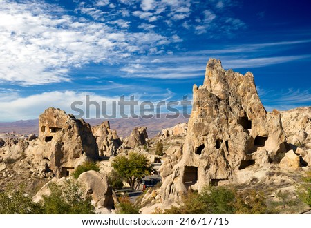 Cappadocia, Rock formations in Goreme National Park, Turkey. - stock photo