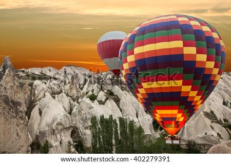 Cappadocia, Turkey. Goreme national park. Rock landscape. Hot air balloon - stock photo