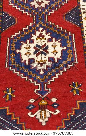 CAPPADOCIA, TURKEY - JUN 4, 2014 - Sivas style rug in a carpet showroom in  Cappadocia, Turkey - stock photo